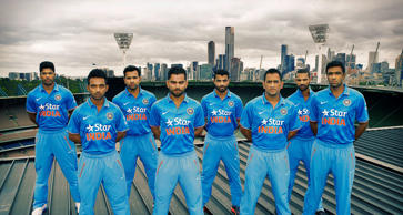 In this handout photo provided by SDP Media, members of the Indian cricket team Umesh Yadav, Rohit Sharma, R.Jadeja, Shikhar Dhawan, Ajinkya Rahane, Virat Kohli, MS Dhoni, R.Ashwin are seen during the unveiling of the Indian team One Day International kit at Melbourne Cricket Ground on January 15, 2015 in Melbourne, Australia.