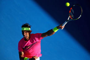 Rafael Nadal of Spain serves in his first round match against Mikhail Youzhny of Russia during day one of the 2015 Australian Open at Melbourne Park on Jan. 19 in Melbourne.