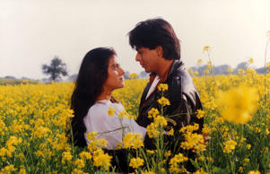 Actors: Kajol and Shah Rukh Khan Movie: Dilwale Dulhania Le Jayenge Year: 1995