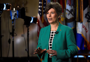Sen. Joni Ernst, R-Iowa rehearses her remarks for the Republican response to President Obama's State of the Union address, Tuesday, Jan. 20, 2015, on Capitol Hill in Washington.