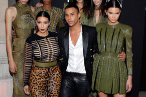 Fashion designer Olivier Rousteing with Kim and Kendall Kardashian