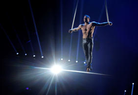 The Ukrainian artist Duo Silver Stones performs during the Award Gala evening of the 39th Monte Carlo International Circus Festival, in Monaco, Tuesday, Jan. 20, 2015.