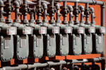 Natural Gas Meters in a Row