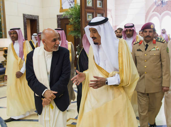 File photo provided by the Saudi Press Agency, Saudi Arabia's Crown Prince Salman bin Abdulaziz Al Saud, center, talks with Afghanistan's President Ashraf Ghani in Riyadh, Saudi Arabia.