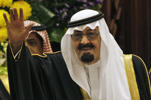 "King Abdullah bin Abdul Aziz al-Saud of Saudi Arabia waves to members of the Saudi Shura ""consultative"" council in Riyadh, Saudi Arabia, on March 24, 2009."