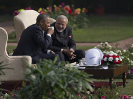 President Barack Obama and Indian Prime Minister Narendra Modi in the gardens of the Hyderabad House in New Delhi on Jan. 25, 2015.