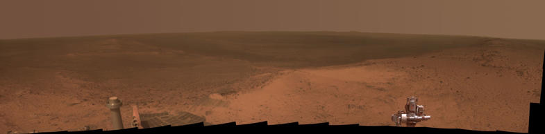 NASA's Mars rover Opportunity captured the photos that make up this panorama from the top of Cape Tribulation, a segment of the rim of Endeavour Crater, in January 2015.