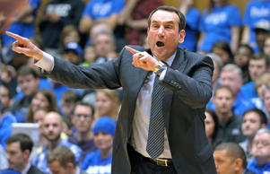 Head Coach Mike Krzyzewski of the Duke Blue Devils directs his team against the Pittsburgh Panthers during their game at Cameron Indoor Stadium on January 19, 2015 in Durham, North Carolina. Duke defeated Pitt 79-65 and it was the 999th career victory for Mike Krzyzewski (926 at Duke, 73 at Army).