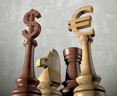 US dollar & euro chess pieces