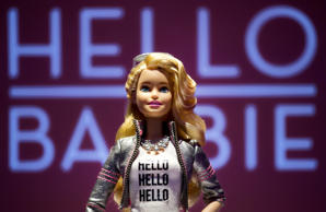 Hello Barbie is displayed at the Mattel showroom at the North American International Toy Fair, Saturday, Feb. 14, 2015 in New York. Mattel, in partnership with San Francisco startup ToyTalk, will release the  Internet-connected version of the doll that has real conversations with kids in late 2015.