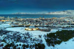 Aerial view- The Pearl in the foreground, wintertime, Reykjavik, Iceland