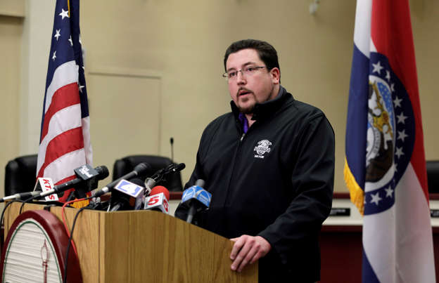Ferguson Mayor James Knowles III announces the resignation of police chief Thomas Jackson during a news conference Wednesday, March 11, 2015, in Ferguson, Mo. The resignation comes in the wake of a scathing Justice Department report prompted by the fatal shooting of an unarmed black 18-year-old by a white police officer.