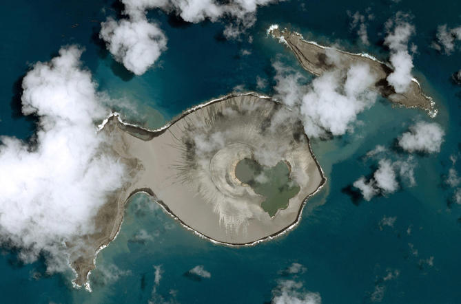 Mandatory Credit: Photo by Pleiades/CNES/SIPA/REX (4520116c) The post-eruption satellite view after the island on the left became joined to the crater which created a larger land mass . New Pacific island off Tonga