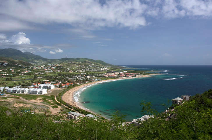 A view of beaches just outside the main capital Basseterre June 13, 2009. The Caribbean's small island states resist natural hurricanes year after year, but they are fighting to stay afloat in a global economic storm that is battering the world's rich and poor nations alike. Picture taken June 13, 2009.