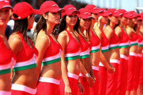 Grid Girls line up for the drivers parade prior to during the Hungarian Formula One Grand Prix at the Hungaroring on August 5, 2007, in Budapest, Hungary.