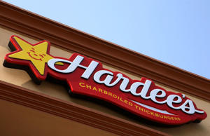 Hardee's logo is seen at a franchise.