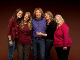 "In this publicity image released by TLC, Kody brown, center, poses with his wives, from left,  Robyn, Christine, Meri and Janelle in a promotional photo for the reality series, ""Sister Wives,"" airing Sunday, March 13, 2011 on TLC."