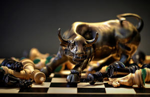 Charging Bull on chess board.  Getty Images