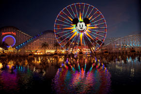 Mickey's Fun Wheel is photographed at dusk in Disney California Adventure Park at Disneyland in Anaheim, Calif.