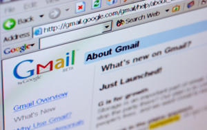 Gmail's email webpage is seen on a computer screen in 2005.