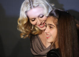 Madonna and her daughter Lourdes Maria Ciccone Leon attend a reception to benefit UNICEF hosted by Gucci