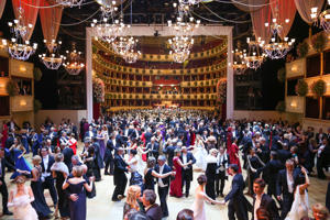 Guests dance during Opera Ball Vienna at State Opera Vienna on February 12, 2015.