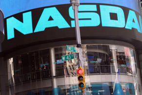 The Nasdaq stock market is seen at Times Square in New York City.