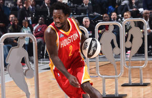 Patrick Beverley dribbles the ball during the Taco Bell Skills Challenge on State Farm All-Star Saturday Night as part of the 2015 NBA All-Star Weekend on Feb. 14, 2015 at Barclays Center in Brooklyn, New York.