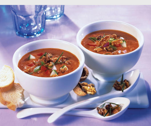 A perfect cooling appetizer for the summers, gazpacho is a cold soup filled with vegetables. Usually served with a tomato base, grape and melon versions are also quite popular.