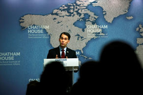Wisconsin Gov. Scott Walker delivers his speech at Chatham House in central London, Wednesday, Feb. 11, 2015.
