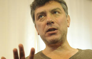 Boris Nemtsov attends a meeting of the rally organisers  in Moscow.