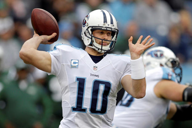 Tennessee Titans quarterback Jake Locker passes against the New York Jets in the first half of an NFL football game Sunday, Dec. 14, 2014, in Nashville, Tenn.