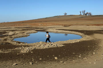 A visitor walks near the receding waters at Folsom Lake, which is 17 percent of its capacity, in Folsom, California on January 22, 2014.
