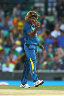 Lasith Malinga of Sri Lanka celebrates dismissing Hashim Amla of South Africa during the 2015 ICC Cricket World Cup match between South Africa and Sri Lanka at Sydney Cricket Ground on March 18, 2015 in Sydney, Australia.