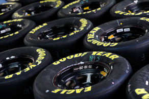 Goodyear Eagle tires sit in the garage during the NASCAR Sprint Cup Series test at Charlotte Motor Speedway on March 11, 2015 in Charlotte, North Carolina.