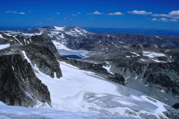 View from the summit of Wind River Mountain Range in Wyoming.