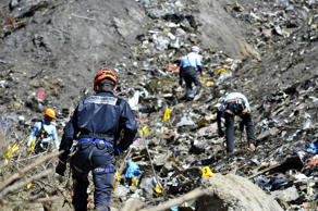 French emergency rescue services work at the site of the Germanwings jet that crashed near Seyne-les-Alpes, France.