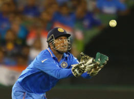 MS Dhoni of India takes a catch which was ruled not out during the 2015 ICC Cricket World Cup match between South Africa and India at Melbourne Cricket Ground on February 22, 2015 in Melbourne, Australia.