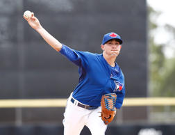 Toronto Blue Jays relief pitcher Aaron Sanchez (41) throws a pitch during the first inning of a spring training baseball game against the Philadelphia Phillies at Florida Auto Exchange Park.