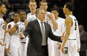 Head coach Tom Izzo of the Michigan State Spartans reacts against the Georgia Bulldogs during the second round of the 2015 NCAA Men's Basketball Tournament at Time Warner Cable Arena on March 20, 2015 in Charlotte, North Carolina.