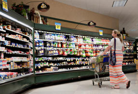 Jennifer Corrow shops at a Kroger Co. supermarket in Peoria, Illinois, U.S..