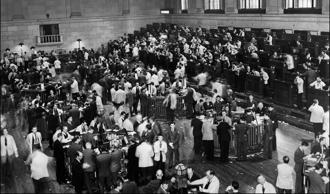 A Wall Street stock exchange in 1937
