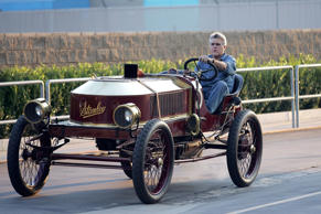 Jay Leno leaves NBC Studios in one of his many unquie cars. This is a 1906 Stanley steam operated car.