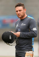 Brendon McCullum of New Zealand fixes his helmet during a New Zealand nets session at Melbourne Cricket Ground on March 28, 2015 in Melbourne, Australia.