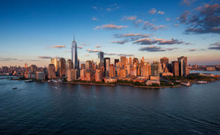 Aerial view of the New York City skyline.