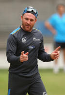 Brendon McCullum of New Zealand appeals for a wicket during a New Zealand nets session at Melbourne Cricket Ground on March 28, 2015 in Melbourne, Australia.