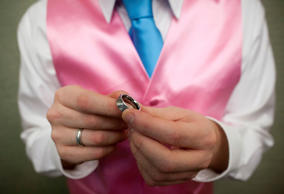Dale Frost holds the wedding ring which he purchased for his partner Mark Massey before their wedding at the City Clerk's Office in New York Oct. 11, 2012.