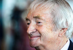 SYDNEY, AUSTRALIA - OCTOBER 15: Richie Benaud talks to other guests before the Cricket Australia season launch at Museum of Contemporary Art on October 15, 2012 in Sydney, Australia.
