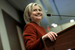 Former U.S. Secretary of State Hillary Clinton speaks at an award ceremony for the 2015 Toner Prize for Excellence in Political Reporting March 23, 2015 in Washington, D.C.