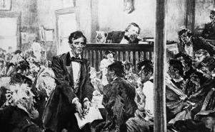 Abraham Lincoln is shown as a lawyer in Springfield, Ill., 1837.  AP Photo
